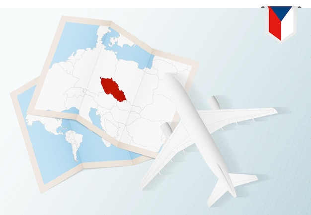 Viaggio in repubblica ceca, aereo vista dall'alto con mappa e bandiera della repubblica ceca.