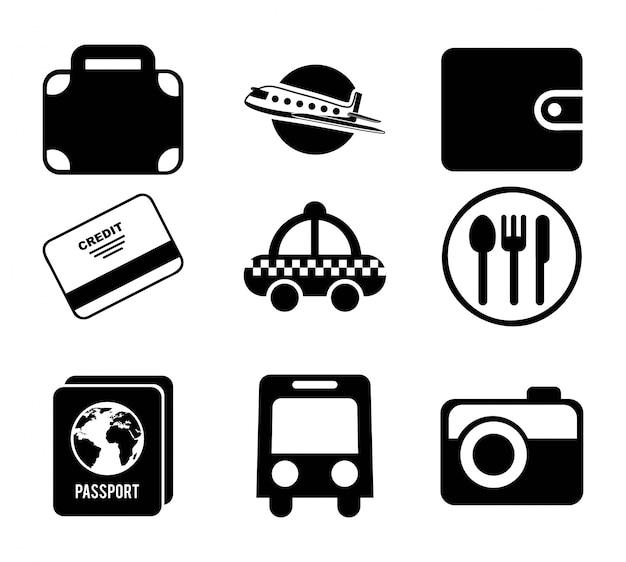 Progettazione di viaggio su sfondo bianco illustrazione vettoriale