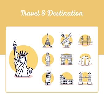 Icone di viaggio e destinazione impostate con lo stile di contorno