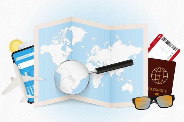 Destinazione di viaggio mockup turistico del paraguay con attrezzatura da viaggio e mappa del mondo