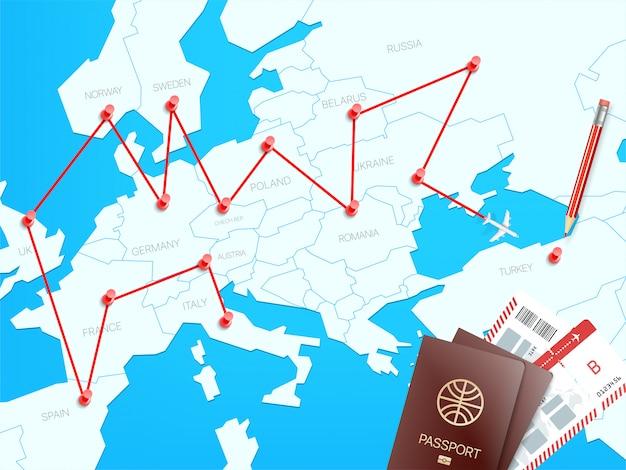 Concetto di vettore di destinazioni di viaggio con la mappa