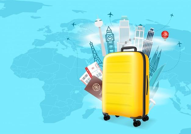 Concetto di vettore delle destinazioni di viaggio con la borsa gialla