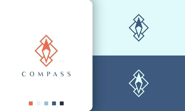 Disegno vettoriale del logo di viaggio o di direzione con forma di bussola semplice e moderna