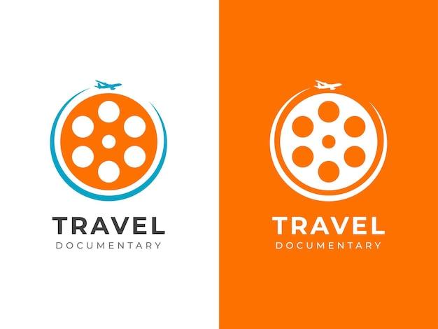 Concetto di design del logo del documentario di viaggio