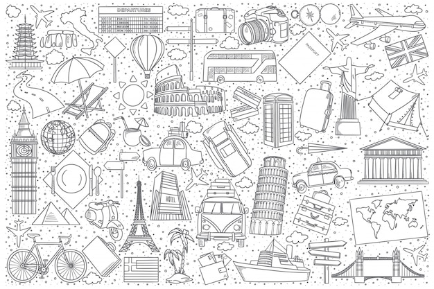 Set da viaggio doodle
