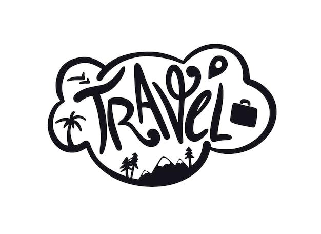 Sogni di viaggio lettering testo con elementi nuvola con viaggio lettering journey concept