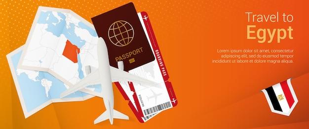 Viaggio in egitto pop-under banner. banner di viaggio con passaporto, biglietti, aereo, carta d'imbarco, mappa e bandiera dell'egitto.