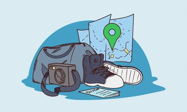 Illustrazione dell'attrezzatura di viaggio