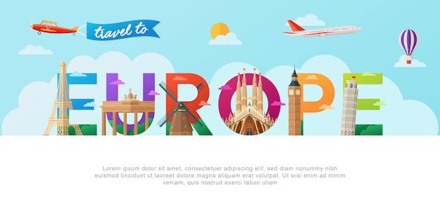 Viaggia in europa lettering tipografia Vettore Premium