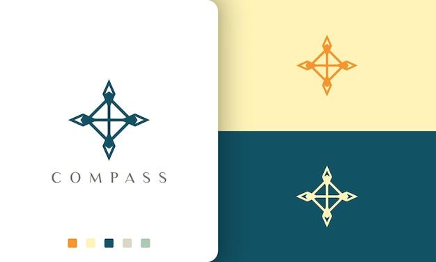 Design vettoriale del logo da viaggio o esploratore con una forma a bussola semplice e moderna