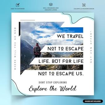 Esploratori di viaggio instagram post modello banner web