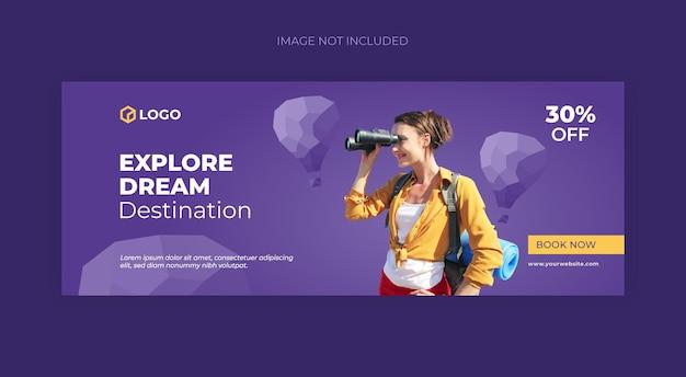 Copertina facebook di viaggio e modello di banner web