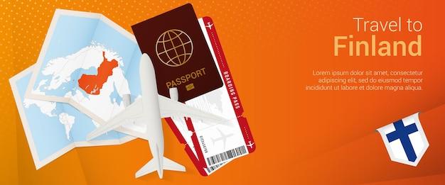 Banner popunder di viaggio in finlandia banner di viaggio con biglietti per passaporto mappa della carta d'imbarco dell'aereo e bandiera della finlandia