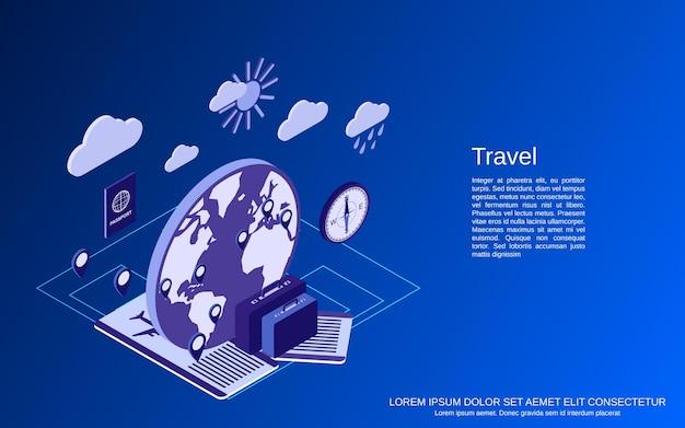 Illustrazione di concetto di vettore isometrico piatto 3d di viaggio