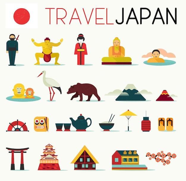 Insieme di progettazione delle icone piane del giappone di viaggio.
