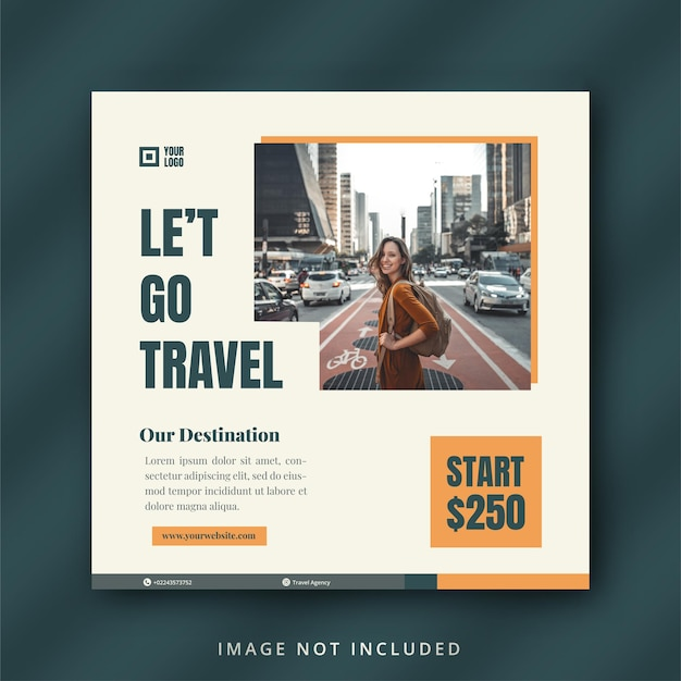 Modello di volantino di viaggio o post sui social media