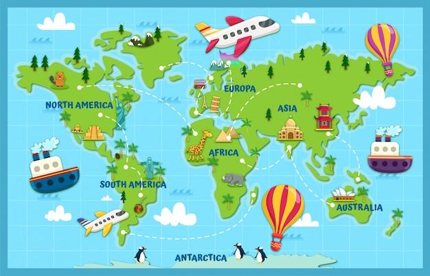 Viaggia per il mondo Vettore Premium