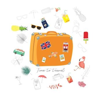 Biglietto di auguri di viaggio con bagagli, furgone, passaporto, aereo, fenicottero, fiore e gelato