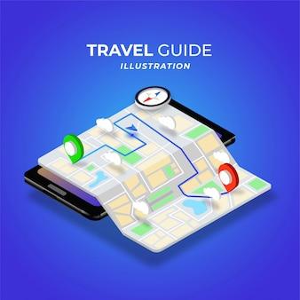 Illustrazione isometrica di modalità giorno della mappa digitale della guida di viaggio