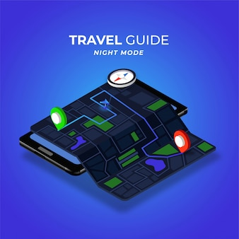 Illustrazione isometrica di modalità notturna della mappa digitale della guida di viaggio