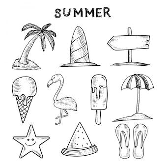 Viaggi disegnati a mano doodle backround. turismo e schizzo estivo. illustrazione