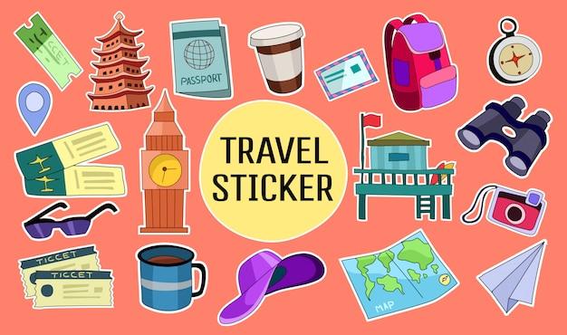 Set di adesivi disegnati a mano di viaggio