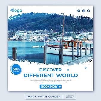 Viaggi vacanza vacanza social media post banner web instagram post banner modello o quadrato flyer