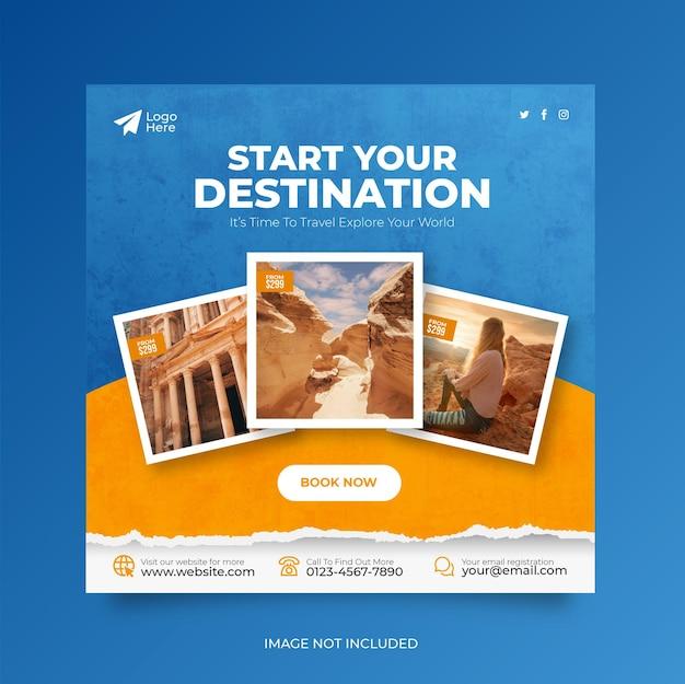 Viaggi vacanza vacanza social media post banner web