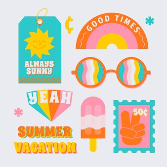 Collezione di adesivi per viaggi / vacanze in stile anni '70
