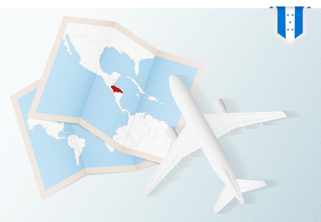 Viaggio in honduras, aereo vista dall'alto con mappa e bandiera dell'honduras.