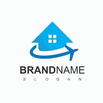 Logo travel house, hotel, villa e simbolo dell'agente di viaggio