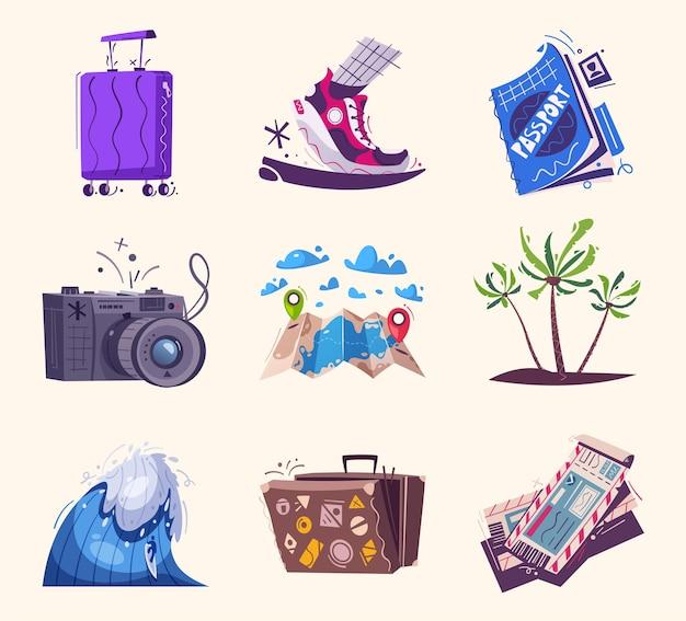 Illustrazione di icone di viaggio
