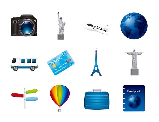 Icone di viaggio isolato su bianco backgroundvector illustrazione