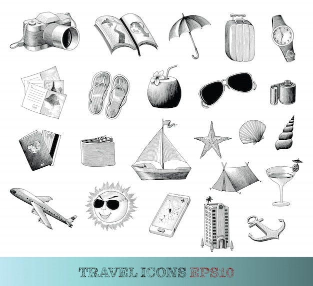 Le icone di viaggio hanno messo lo stile d'annata del disegno della mano in bianco e nero, isolato.