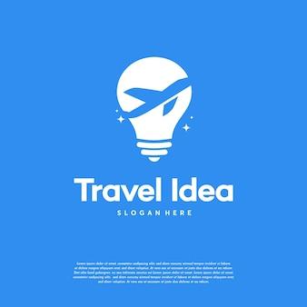 Disegni del logo di travel idea, modello di logo di viaggio in aereo e lampadina
