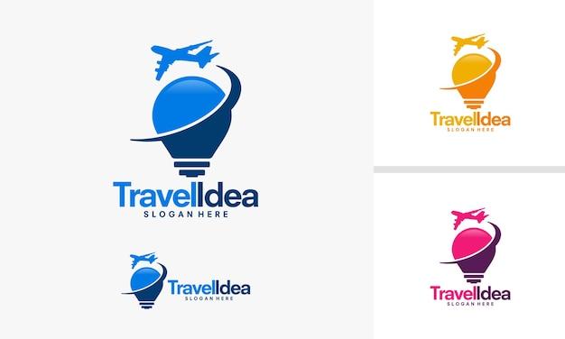 Disegni del logo idea di viaggio, logo della lampadina e dell'aereo da viaggio
