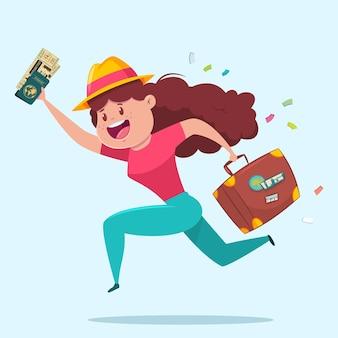 Illustrazione di viaggio con ragazza divertente con una valigia, passaporto e biglietti d'imbarco. personaggio dei cartoni animati turistico della donna.