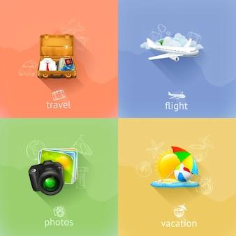 Set di illustrazioni di viaggio