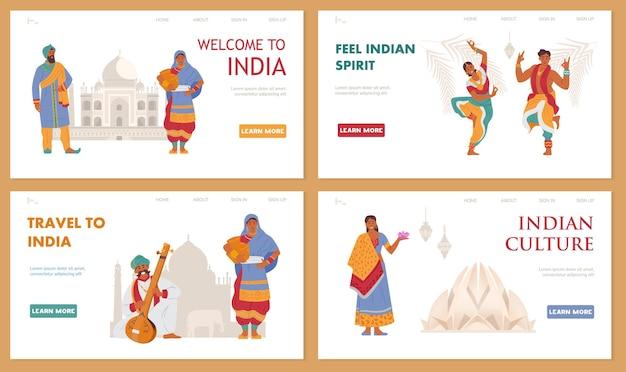 Viaggio in india insieme di vettore di modelli di pagina di destinazione con caratteri indiani.