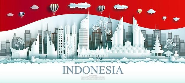 Viaggia in indonesia, città famosa in tutto il mondo, antica e architettura del palazzo. punto di riferimento del tour di jakarta