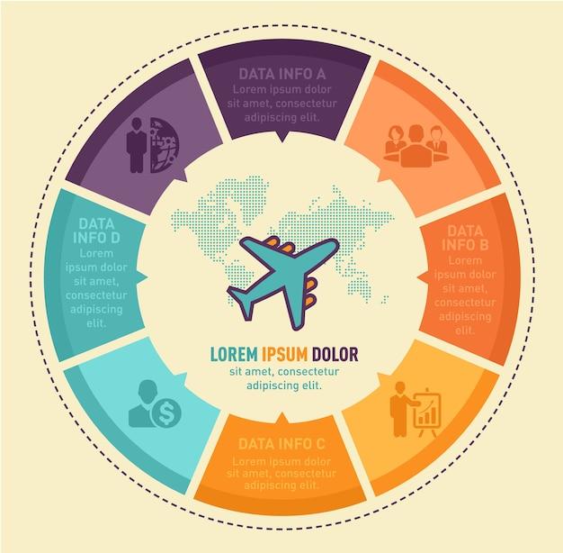 Viaggiare disegno vettoriale infografica