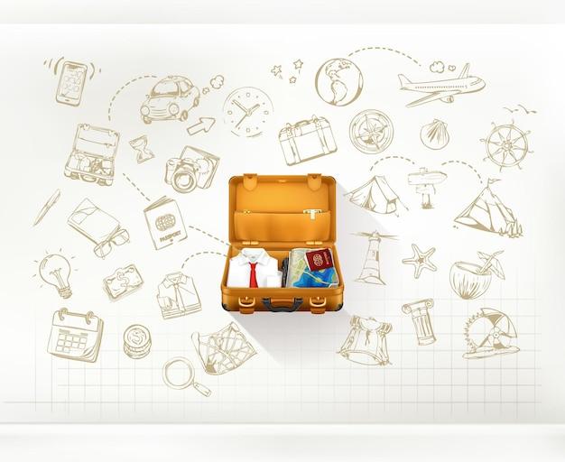 Infografica di viaggio con la valigia