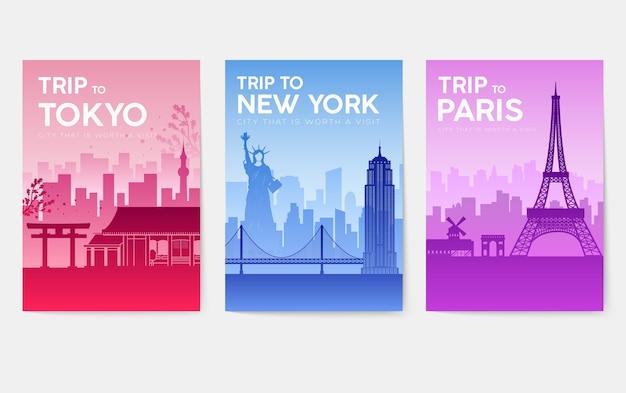 Schede informative di viaggio. modello di paesaggio di flyear, riviste, poster, copertine di libri, banner.