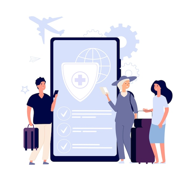Concetto di assicurazione di viaggio. viaggiatori piatti con borse, acquistare assicurazione online illustrazione vettoriale. vacanze di viaggio, servizio turistico assicurativo