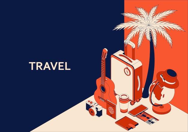 Concetto isometrico di viaggio con valigia, chitarra, fotocamera e illustrazione del globo