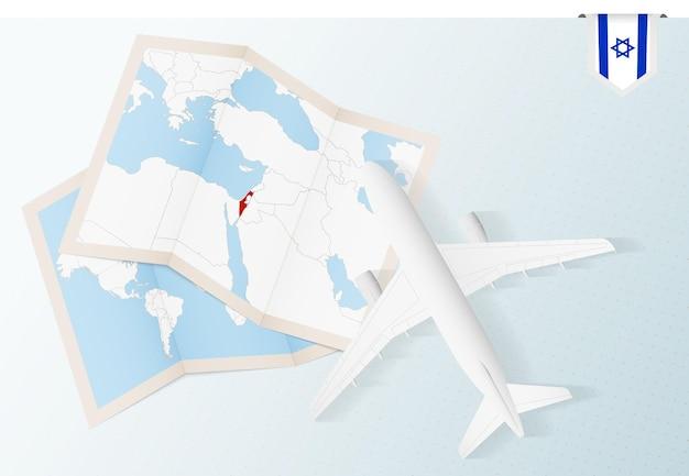Viaggio in israele, aereo vista dall'alto con mappa e bandiera di israele.