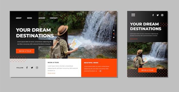 Modello di pagina di destinazione di viaggio con foto Vettore Premium