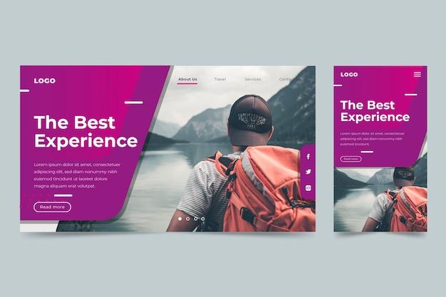 Modello di pagina di destinazione di viaggio Vettore Premium