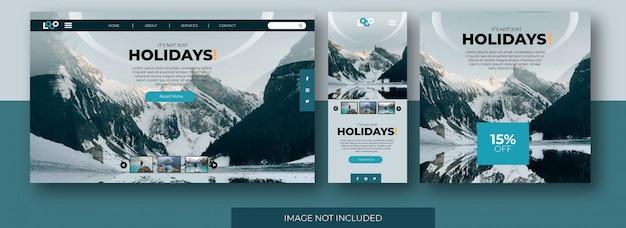 Pagina di destinazione di viaggio sito web, schermata dell'app e social media feed post template con snow mountain