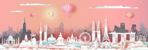 Punto di riferimento asia di viaggio con l'orizzonte di paesaggio urbano e il turismo asean.